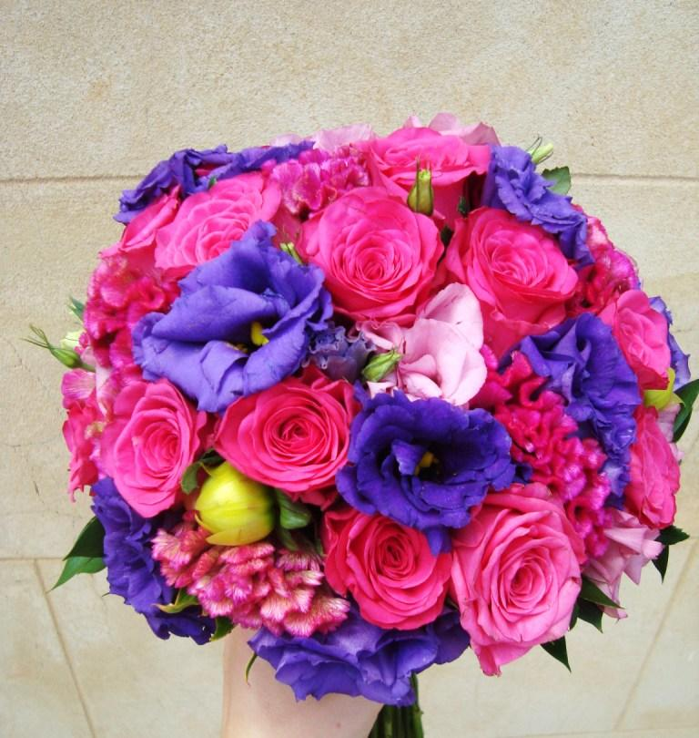The bouquets were finished using soft greenery and a light pink ribbon